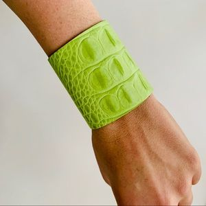 Jewelry - Lime Green Croc Leather Cuff